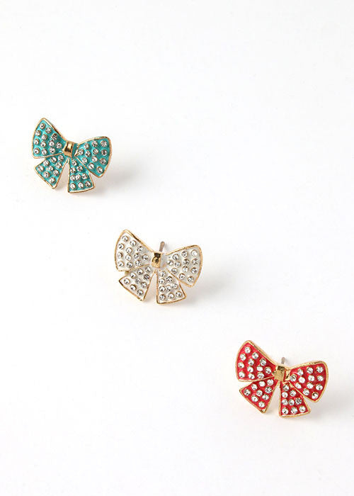 2 Pair Rhinestone Dot Bow Stud Set