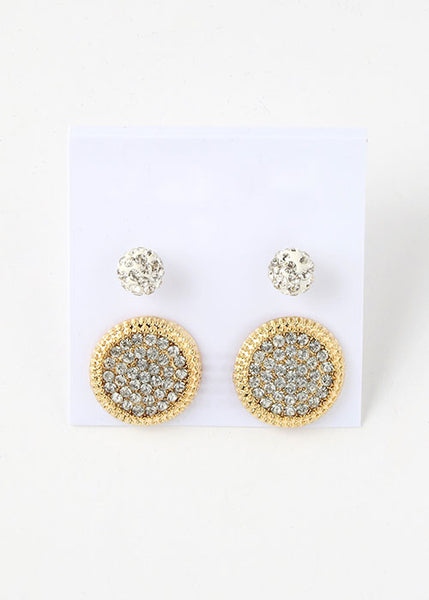 2 Pair Rhinestone Disc Stud Set