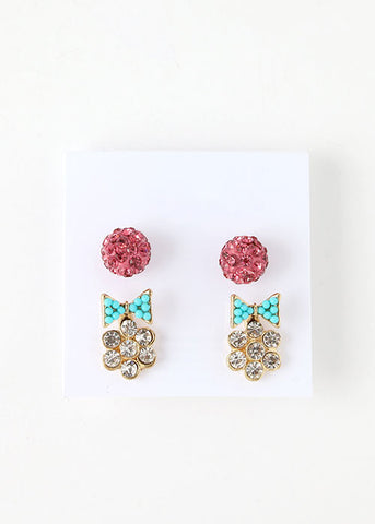 2 Pair Bow & Flower Stud Set