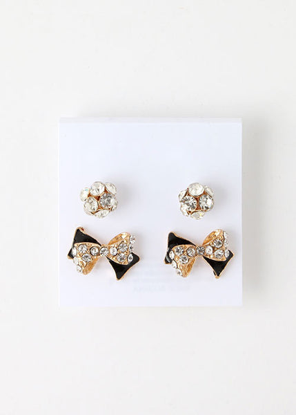 2 Pair Rhinestone Ball & Bow Studs