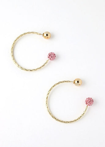 Rhinestone Ball Hoop Earrings