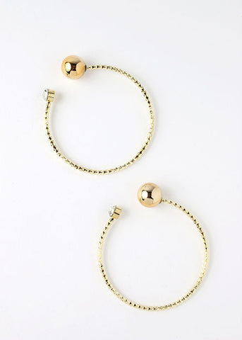 Hammered Metal Open Hoop Earrings