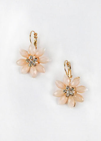 Rhinestone Center Flower Earrings