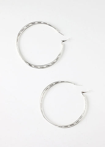 2 Pair Silver Layered Hoop Earrings