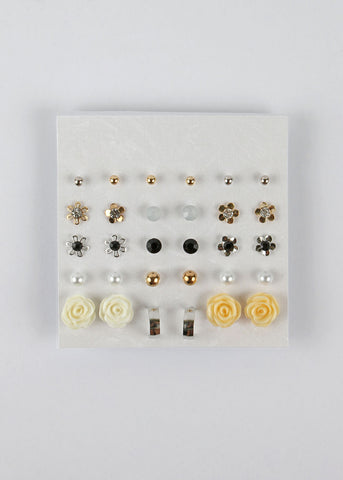 15 Pair Flower & Small Hoop Earring Set