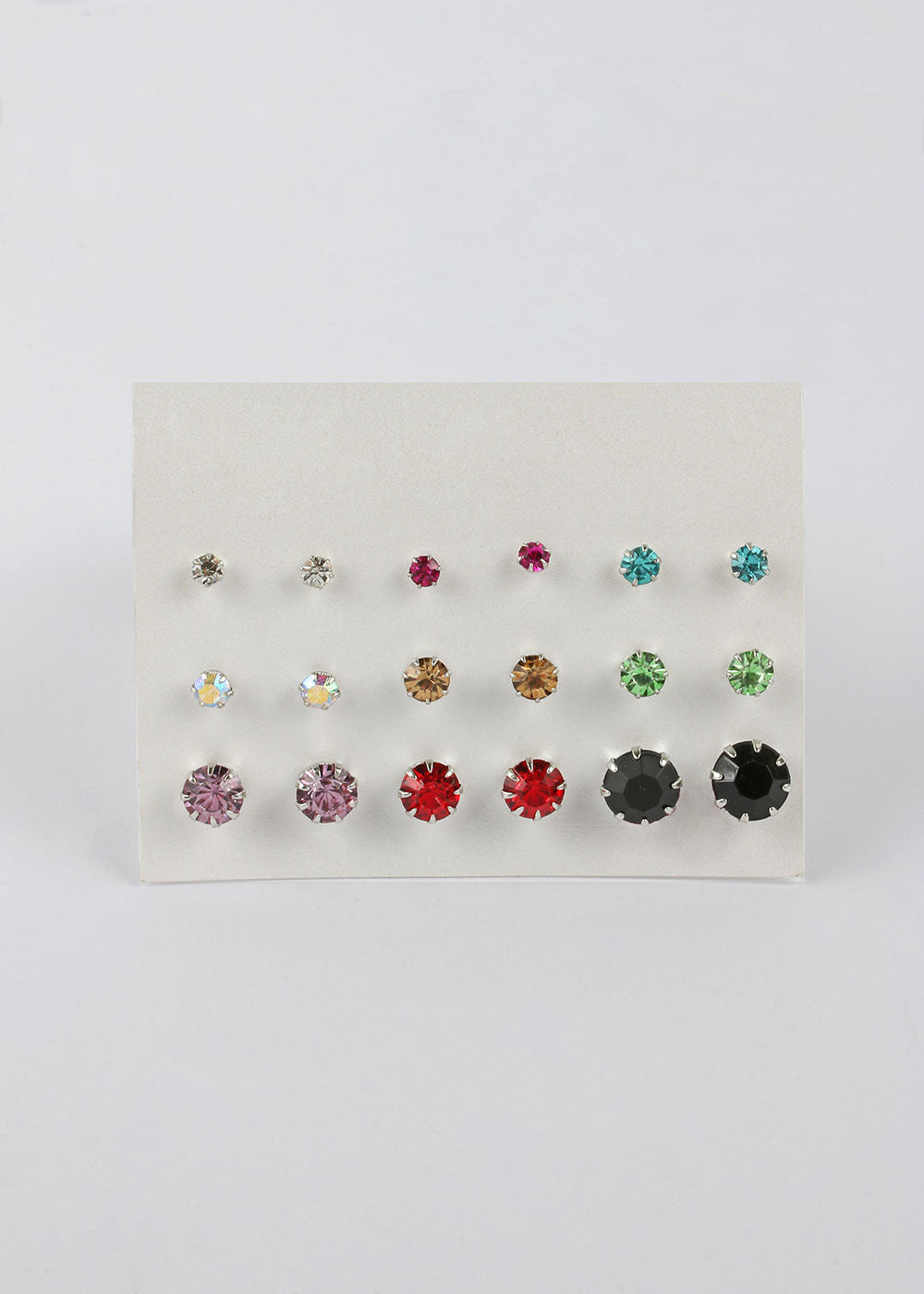 9 Pair Colorful Rhinestone Stud Set
