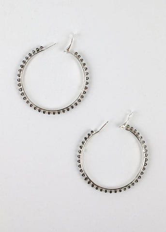 Rhinestone Studded Hoop Earrings