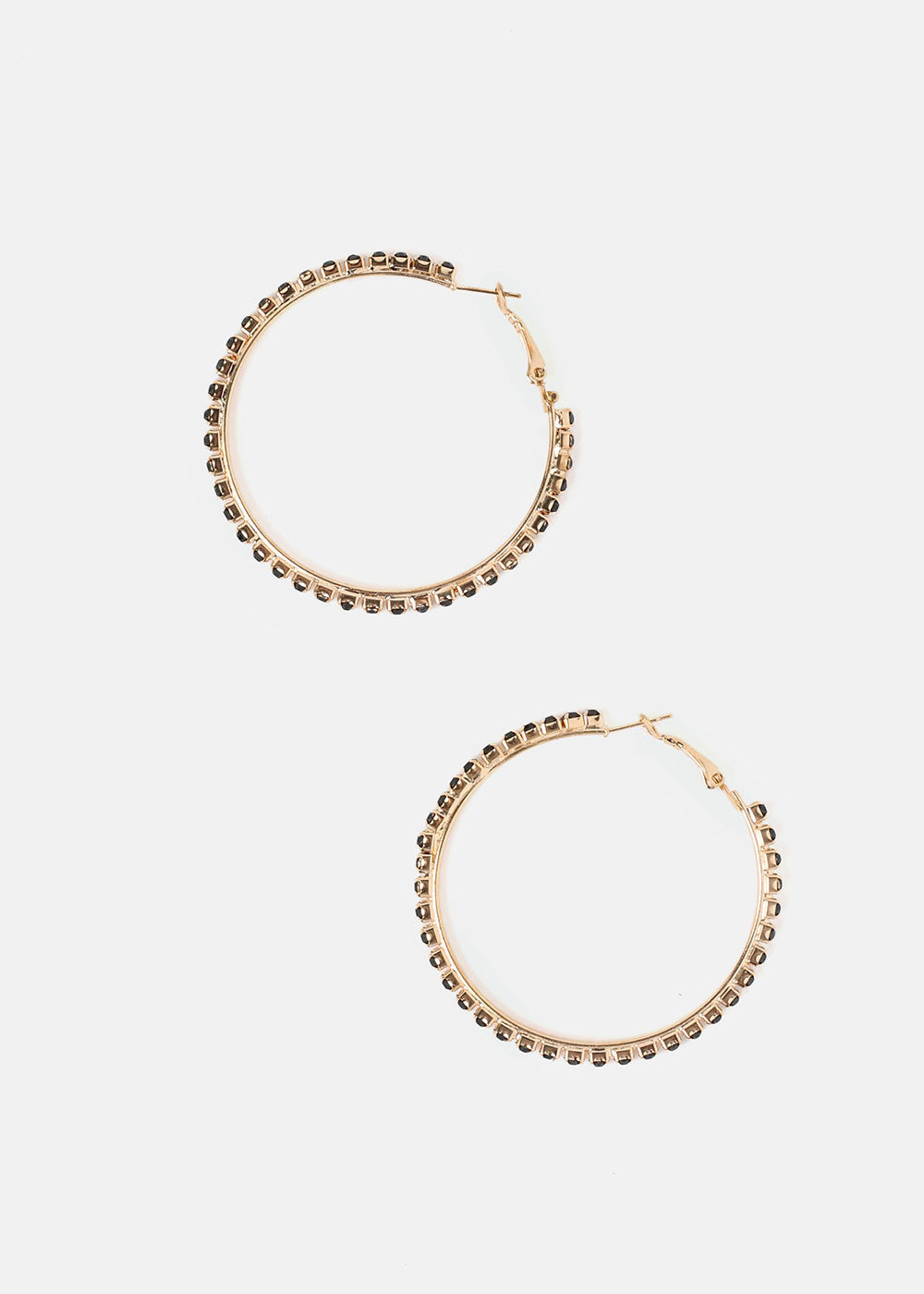 Gold Rhinestone Studded Hoop Earrings