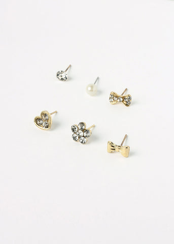 6 Pair Bows Stud Earring Set