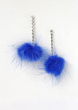 Pom-Pom Rhinestone Drop Earrings