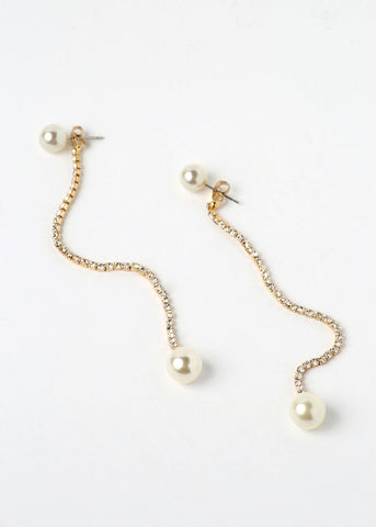 Long Rhinestone Chain & Pearl Earrings