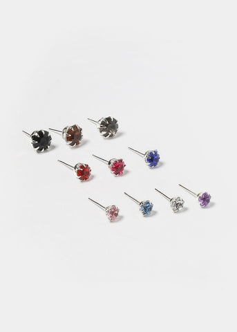 15 Pair Multi-Color Rhinestone Studs