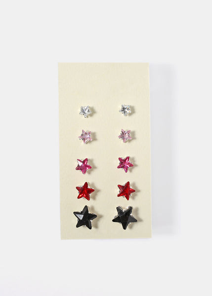 6 Pair Rhinestone Star Stud Earrings