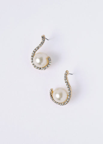 Curved Rhinestone Pearl Earrings