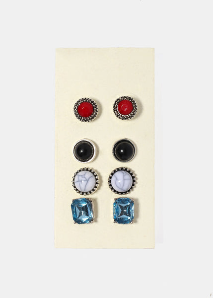 4 Pair Stone & Gemstone Stud Earrings