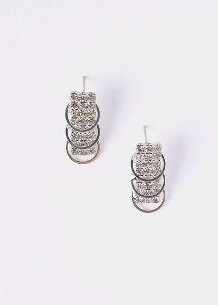 Stacked Ring Rhinestone Earrings