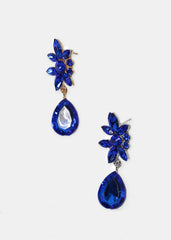 Flower & Tear Drop Gemstone Earrings