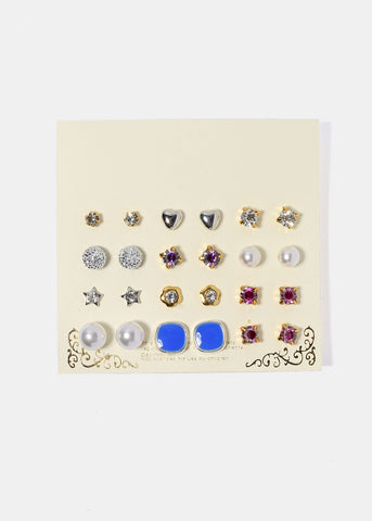 12 Pair Variety Stud Set