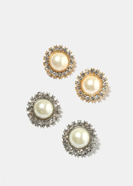 Round Pearl Clip-On Earrings