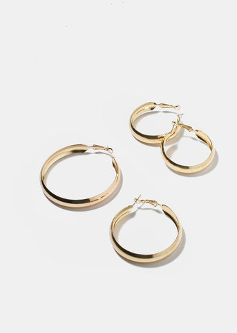 3 Pair Gold Smooth Hoop Earrings