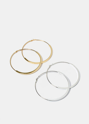 Curved Bar Hoop Earrings