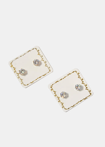 Medium Rhinestone Stud Earrings