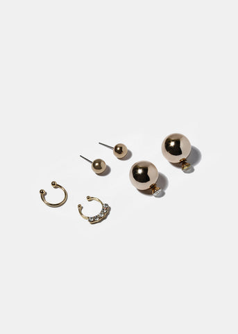 3 Pair Stud Earring & Septum Ring Set