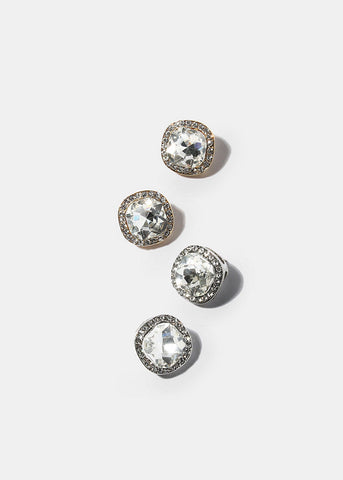 Cushion Cut Rhinestone Stud Earrings