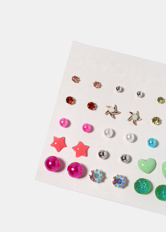 15 Pair Cube & Star Stud Sets