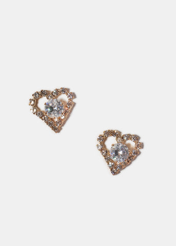 Gemstone Heart Stud Earrings