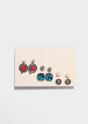 6 Pair Square Gem Stud Earring Set