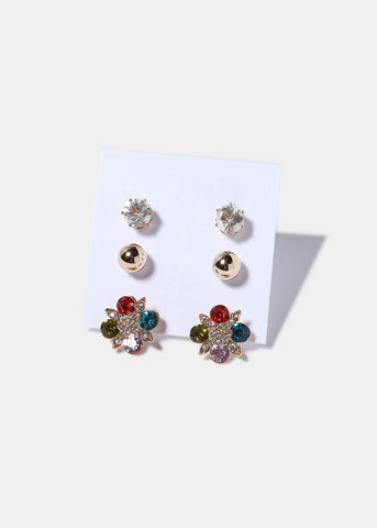 3 Pair Flower, Stud & Ball Set