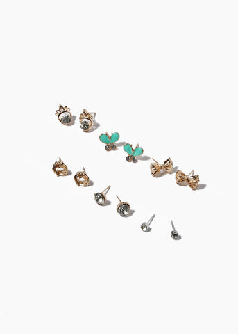 6 Pair Bow & Crown Stud Set