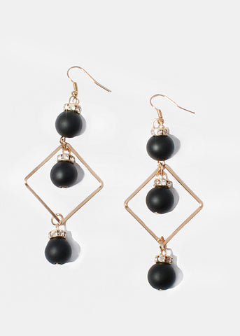 Square & Bead Drop Earrings