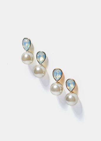 Tear Drop Opal & Pearl Earrings