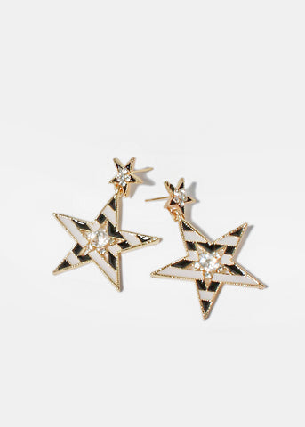 Striped Star Earrings