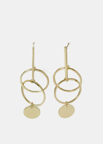 Bar & Circle Drop Earrings