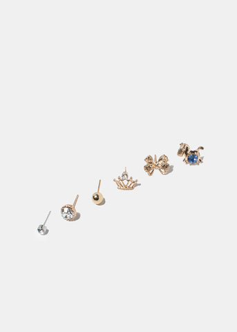 6 Pair Pony & Crown Stud Set