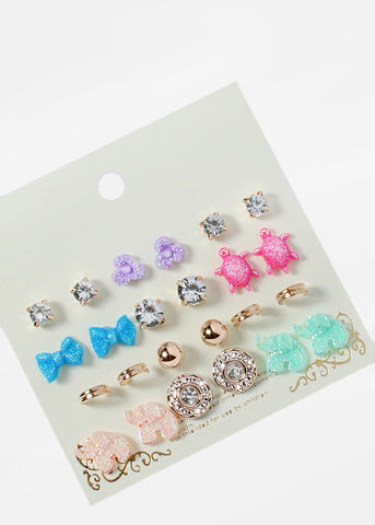 12 Pair Animal Stud & Hoop Set