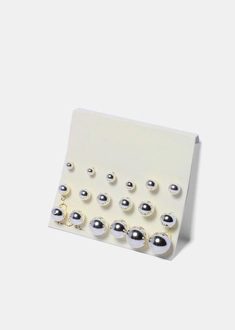 9 Pair Silver Ball Stud Set