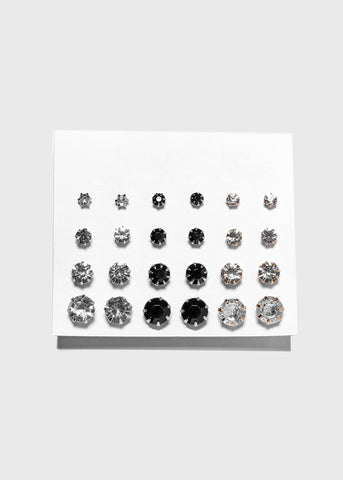 12 Pair Black & Clear Rhinestone Stud Set