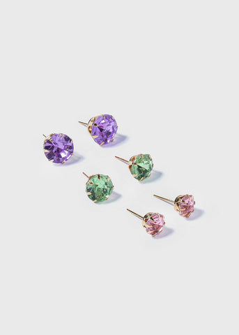 12 Pair Colored Gemstone Studs