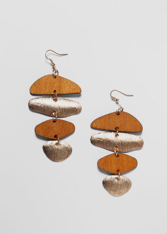 Wood & Metal Chandelier Earrings