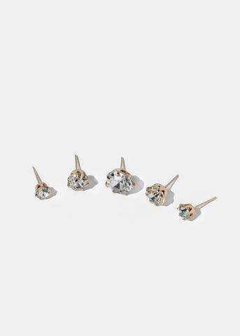 15 Pair Rhinestone Stud Set