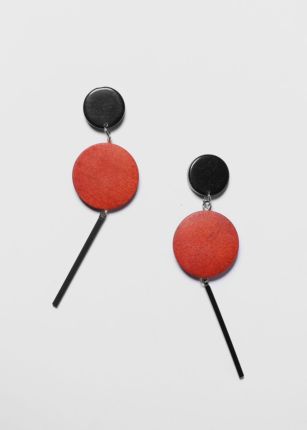 Wooden Disc & Bar Drop Earrings