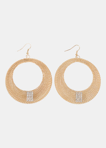 Mesh Metal Circle Earrings