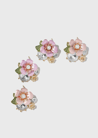 Flower & Gem Stud Earrings