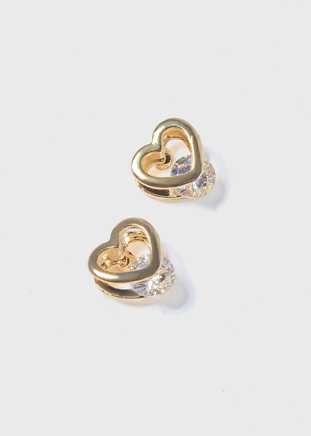 Open Heart Gemstone Stud Earrings