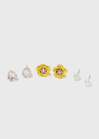 3 Pair Enamel Flower Stud Set