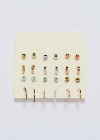 12 Pair Small Hoop & Stud Set